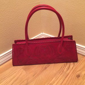 Alexis David Red Hand Tooled Leather Bag